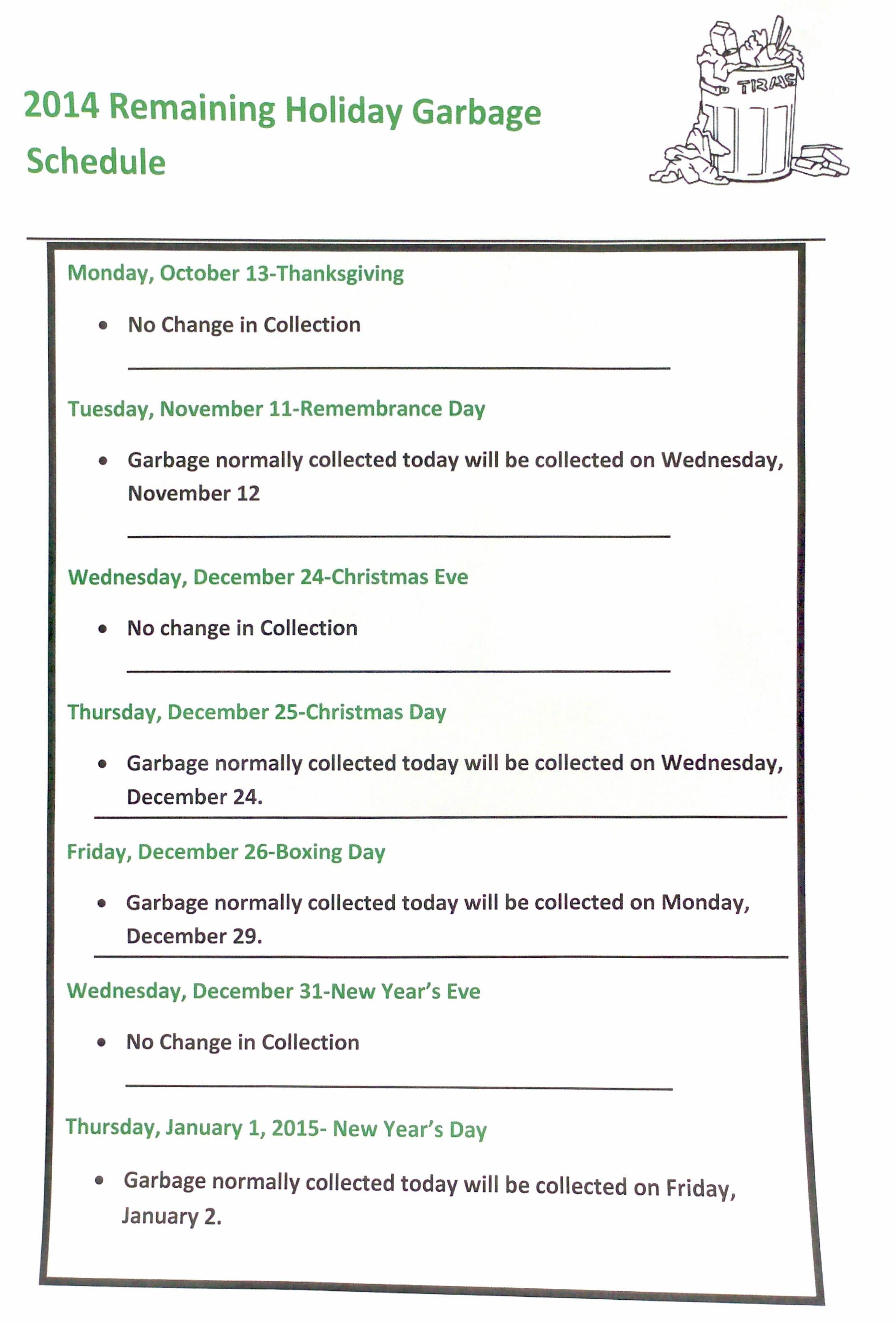 Garbage Collection Holiday Schedule 2014