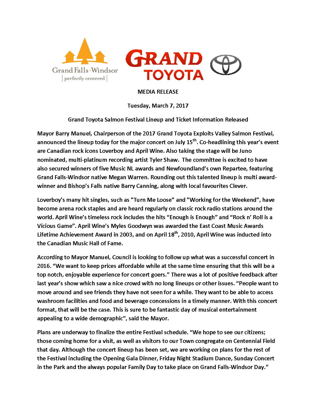 MEDIA RELEASE Salmon Festival Lineup and Ticket Release March 7 2017 Page 1