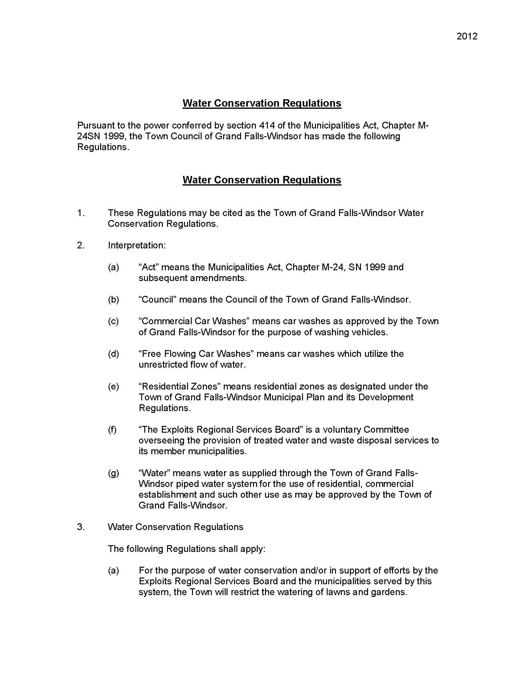Water Conservation Regulations 1 Page 1